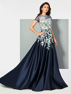 Ericdress A Line Sort Sleeve Applique Beaded Long Evening Dress