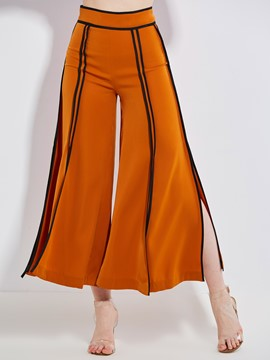 Loose Plain Wide Legs Women's Orange Pants