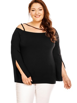 Ericdress Plus Size Off Shouder Slit Blouse