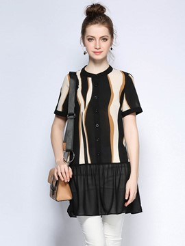 Ericdress Striped Mesh Patchwork Blouse