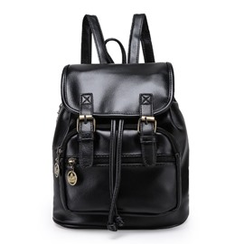 Ericdress Retro Sold Color PU Backpack