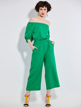 Ericdress Plain Ankle Length Wide Legs Women's Jumpsuit