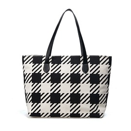 Ericdress Casual Color Block Gird Tote Bag