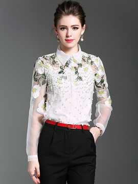 Ericdress Lapel Bead Embroidery Blouse