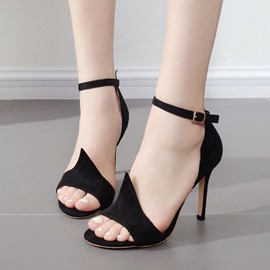 Ericdress Suede OL Ankle Strap Stiletto Sandals