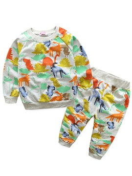 Ericdress Cartoon Dinosaur Printed Boy's 2-Piece Outfit