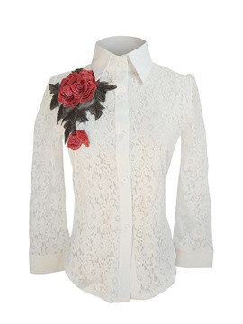 Ericdress Rose Embroidery Lace Blouse
