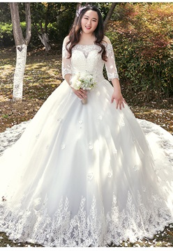 Ericdress Off The Shoulder Ball Gown Half Sleeves Wedding Dress