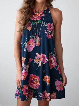 Ericdress Chiffon Floral Sleeveless Casual Dress