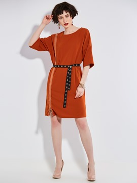 Ericdress Drop-Shoulder Sleeve Side Zipper A Line Dress