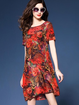 Ericdress Vintage Floral Print Short Sleeve Summer Casual Dress