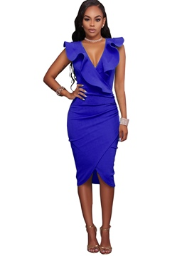 Ericdress Rickrack V-Neck Asymmetric Bodycon Dress