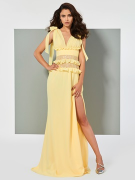 Ericdress A Line V Neck Side Slit Long Evening Dress With Court Train