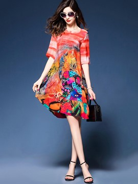 Ericdress Silk Cartoon Half Sleeves Mid-Waist Casual Dress