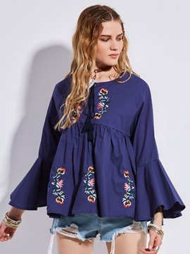 Ericdress Bell Sleeve Floral Embroidery Women's Blouse