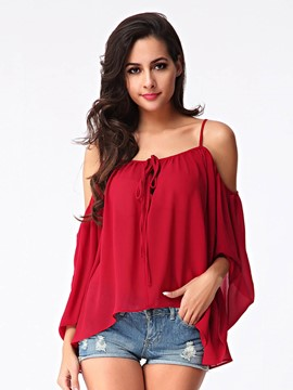 Ericdress Off Shoulder Chiffon Blouse