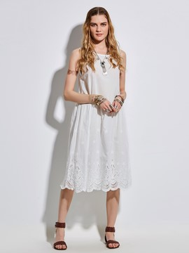 Ericdress Round Neck Hollow Floral Embroideried Casual Dress