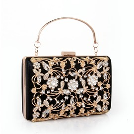 Ericdress Hollowed Metallic Diamond Design Clutch