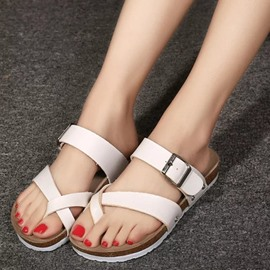 Ericdress Cozy Solid Color Toe Ring Flat Sandals