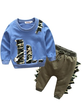 Ericdress Crocodile Pattern Long Sleeve And Pant Baby Boys Outfit 2-Pcs Set