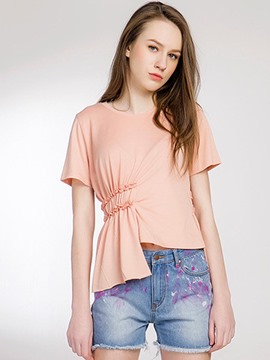 Ericdress Plain Pleated Asymmetric T-Shirt