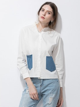Ericdress Stand Collar Pocket Patchwork Blouse