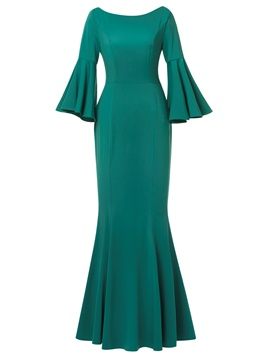 Ericdress Bell Sleeve Backless Mermaid Maxi Dress