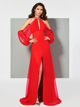 Ericdress Stylish Long Sleeve Beaded Halter A Line Evening Dress With Slit