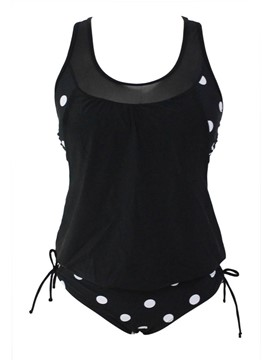 Ericdress weste polka dots lace-up tankini set