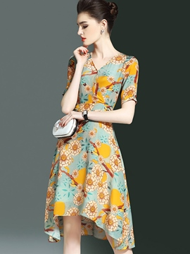 Ericdress FloralV-Neck Asymmetrical Casual Dress
