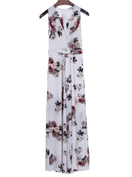 Ericdress bohoartist v-neck blumendruck sleeveless maxi kleid