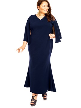 Ericdress V-Neck 3/4 Length Sleeves Patchwork Maxi Plus Dress