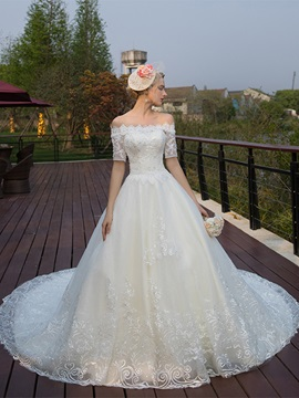 Ericdress Off The Shoulder Short Sleeves Ball Gown Tulle Wedding Dress
