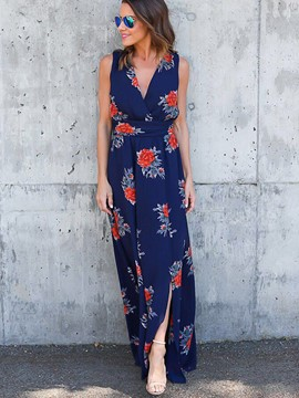 Ericdress FloralPrint V-Neck Sleeveless Slit Maxi Dress