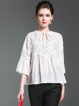 Ericdress Lace Bell Sleeve Patchwork Lace Up Blouse