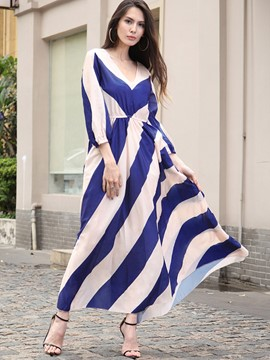 Ericdress Street Style Stripe Backless Expansion Maxi Dress