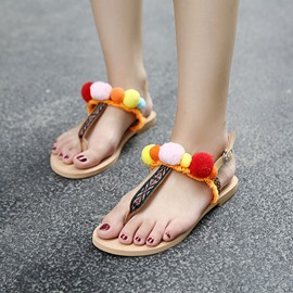 Ericdress Roman Pom Decorated Thong Flat Sandals