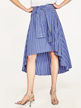 Ericdress Stripe Asymmetrical Knee-Length Skirts