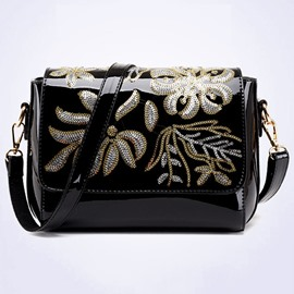 Ericedress Solid Color Patent Leather Satchel