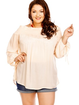 Ericdress Plus Size Slash Neck Lantern Sleeve Blouse