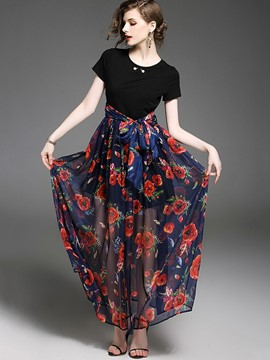 Ericdress Patchwork Short Sleeve Bottom Floral Print Maxi Dress