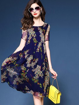 Ericdress Comfy Floral Print Short Sleeve Casual Dress