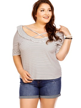 Ericdress Plus Size Falbala Stripe T-Shirt