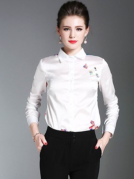 Ericdress Lapel Print Blouse
