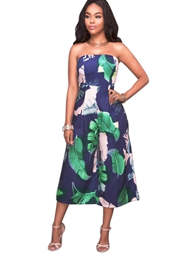 Ericdress Strapless Floral Wide Leg Jumpsuits Pants