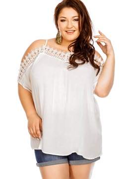 Ericdress Plus Size Cold Shoulder Lace Blouse
