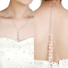 Ericdress Long Imitation Pearl Backdrop Necklace for Bride