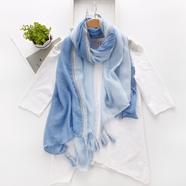 Ericdress Double Color Tassel Long Scarf for Women