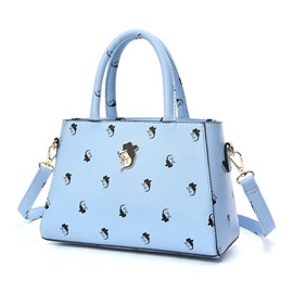 Ericdress Solid Color Personalized Printing Handbag