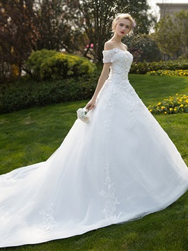 Ericdress Off The Shoulder Appliques Ball Gown Tulle Wedding Dress
